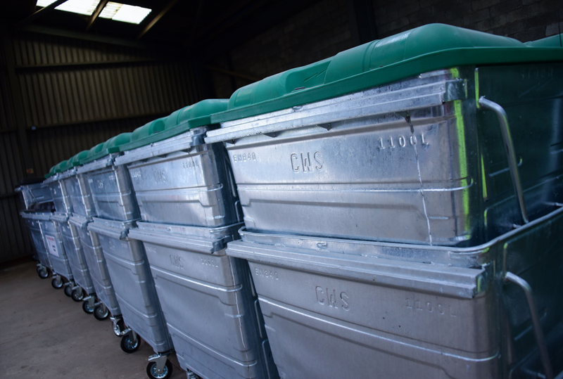 Cornwall Waste Solutions green recycling wheelie bins